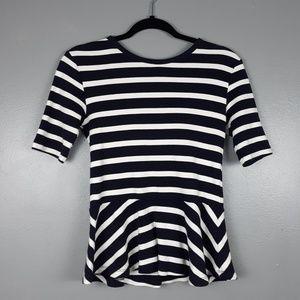 Gap navy and white striped 1/2 sleeve peplum XS